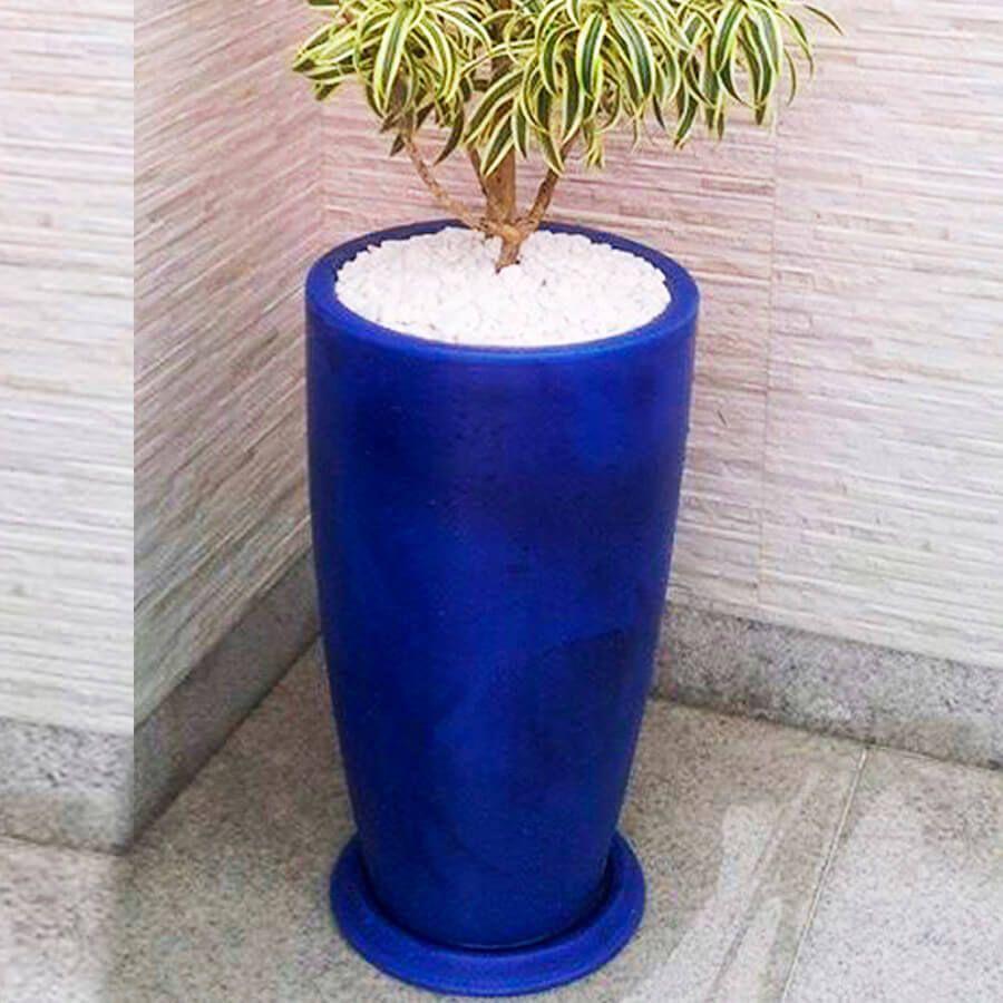 Vaso Verona Alto 64 x 110 cm Preto Marmorizado Vasart