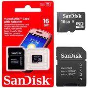 Cartão de Memória Sandisk 16GB com adaptador