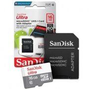 Cartão de Memoria Sandisk Ultra SDSQUNS, Micro Sd, 16gb C/ Adaptador SD
