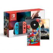 Console Nintendo Switch With Neon 32GB Azul com Vermelho + 2 jogos -Super Mario Odyssey e The Legend of Zelda: Breath of the Wild