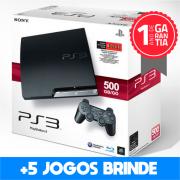 Playstation 3 SLIM SEMINOVO 500 GB + 5 Jogos Brinde (Loja física)