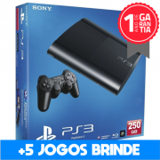 Playstation 3 SUPER SLIM SEMINOVO 250 GB + 5 Jogos Brinde (Loja física)