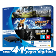 Playstation 4 Slim 500GB BUNDLE + 3 Jogos: HORIZON ZERO DAWN RATCHET CLANK THE LAST OF US