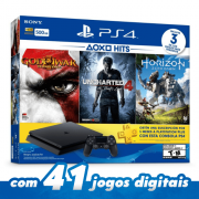 PLAYSTATION 4 SLIM 500GB BUNDLE + 3 JOGOS: Uncharted 4: A Thief's End, Horizon Zero Dawn e God of War 3: Remastered