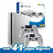 Playstation 4 Slim 500GB com 2 controles Cinza -Silver
