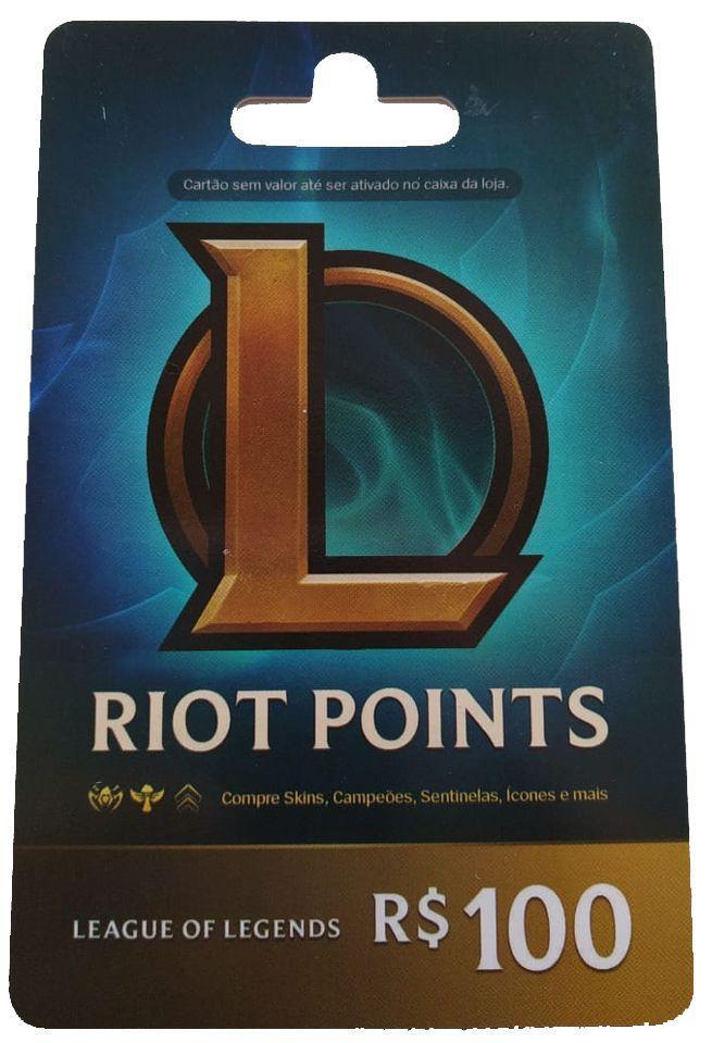 Cartão Gift League Of Legends Lol R$ 100 6110 RPs Riot Points