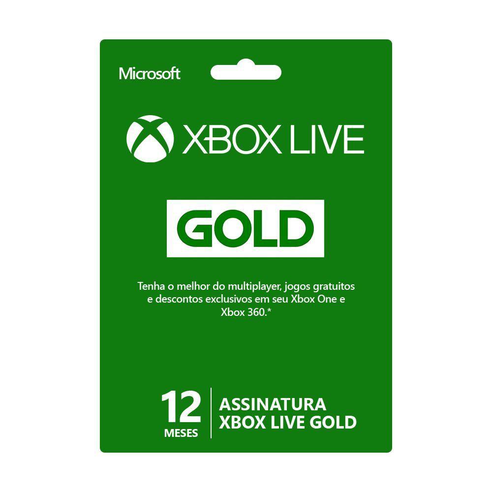 Cartão Xbox Live Gold 12 meses - Microsoft