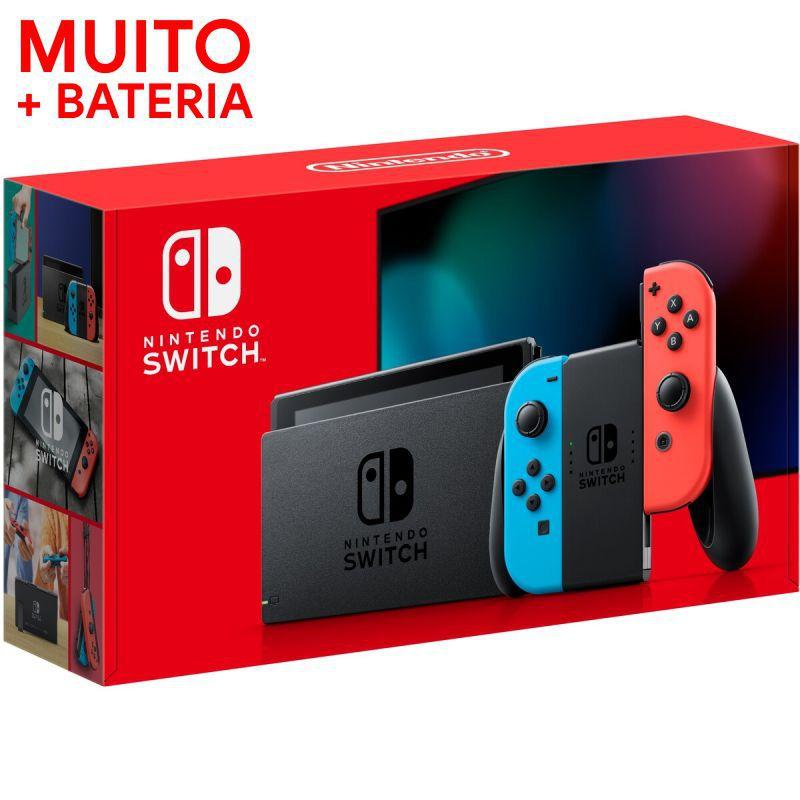 Console Nintendo Switch With Neon 32GB Azul com Vermelho - BATERIA ESTENDIDA