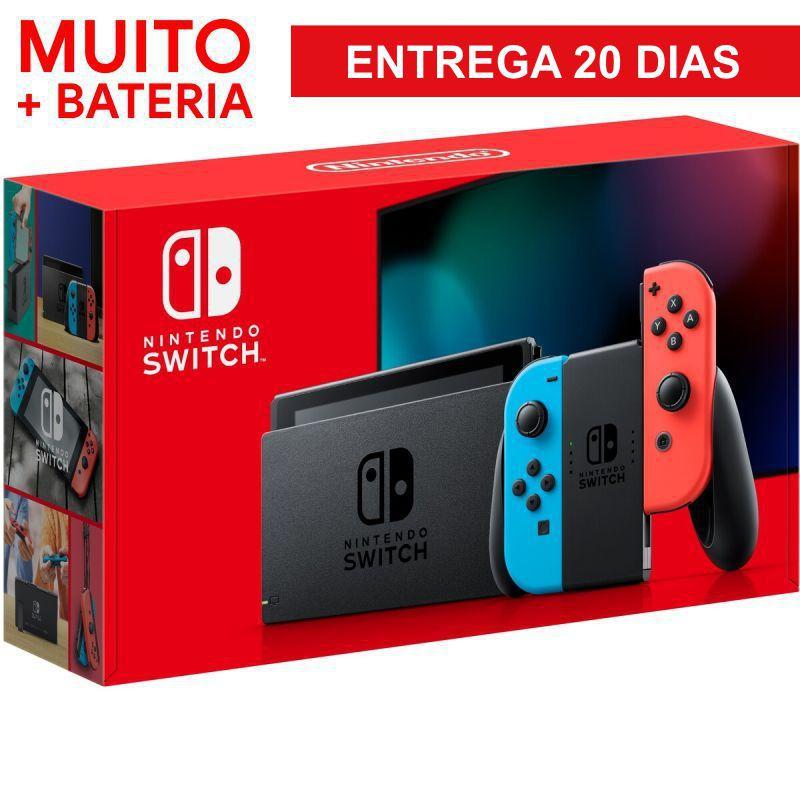 Console Nintendo Switch With Neon 32GB Azul com Vermelho - BATERIA ESTENDIDA - 20 DIAS