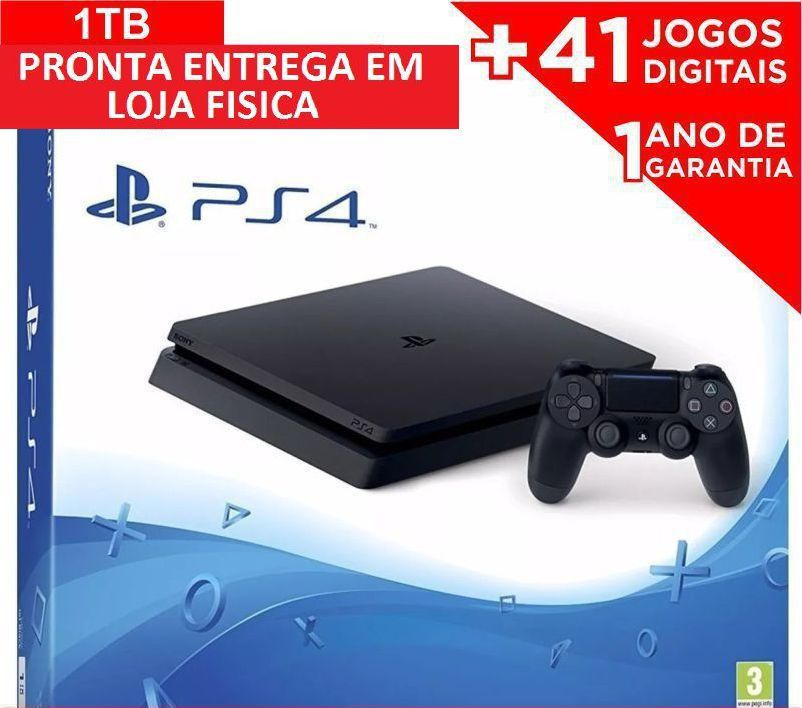Console Playstation 4 - 1TB ps4 video game + 41 Jogos digitais