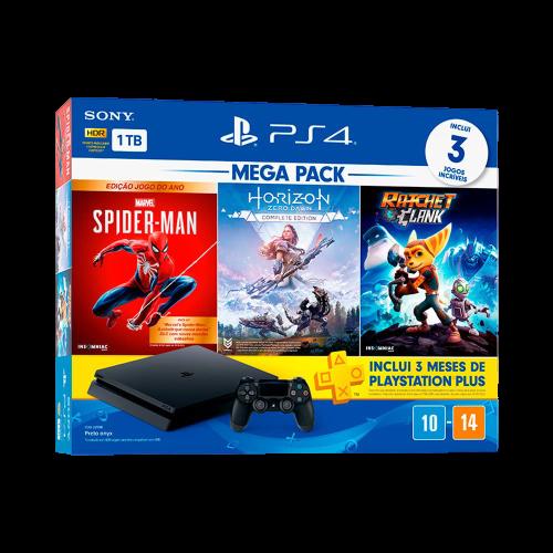 Console Playstation 4 Mega Pack 15, 1 TB, Controle Dualshock 4, Preto + 3 Jogos (Horizon Zero Dawn Complete Edition, Marvel's Spider-Man Edição Jogo do Ano, Ratchet & Clank)