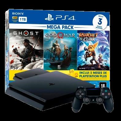 Console PlayStation 4 Mega Pack V18, 1TB, Ghost of Tsushima + God of War + Ratchet & Clank