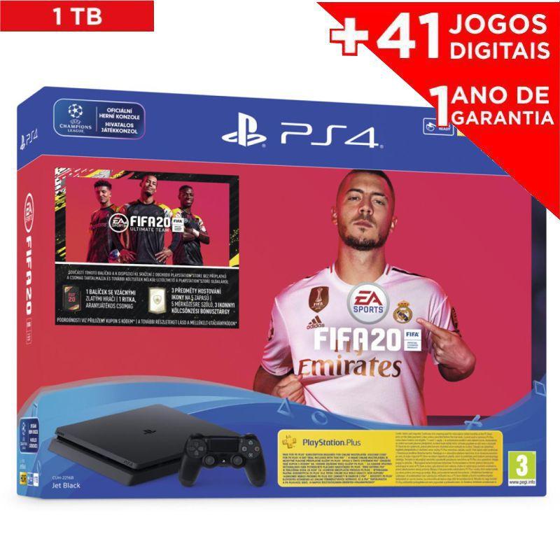 Console Playstation 4 Slim 1TB + Jogo FIFA 2020 mídia física e baixe 41 JOGOS DIGITAIS (PROMOÇÃO)