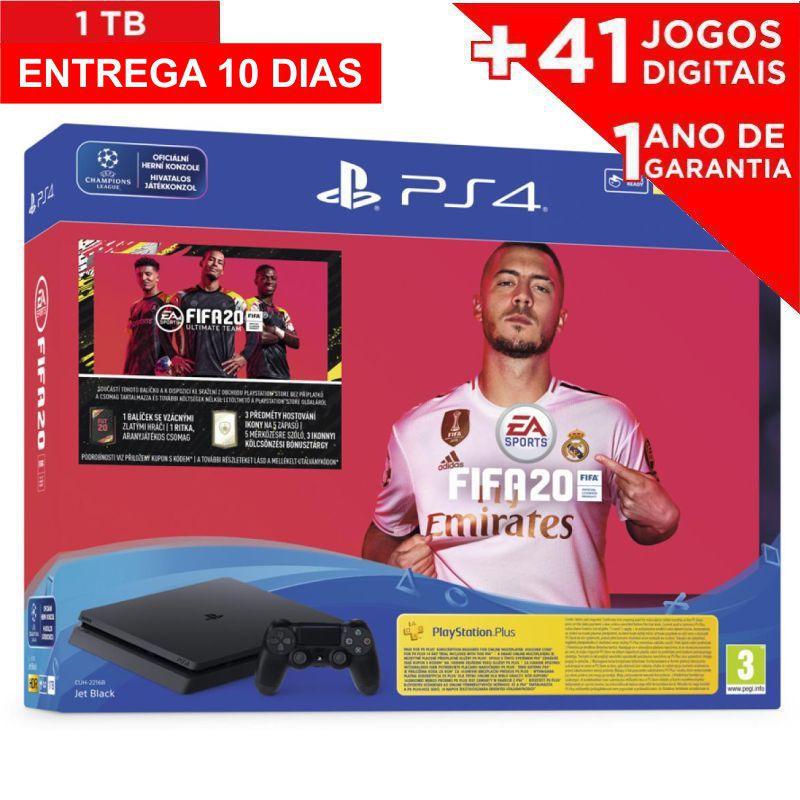 Console Playstation 4 Slim 1TB + Jogo FIFA 2020 mídia física e baixe 41 JOGOS DIGITAIS (ENTREGA 10 DIAS)