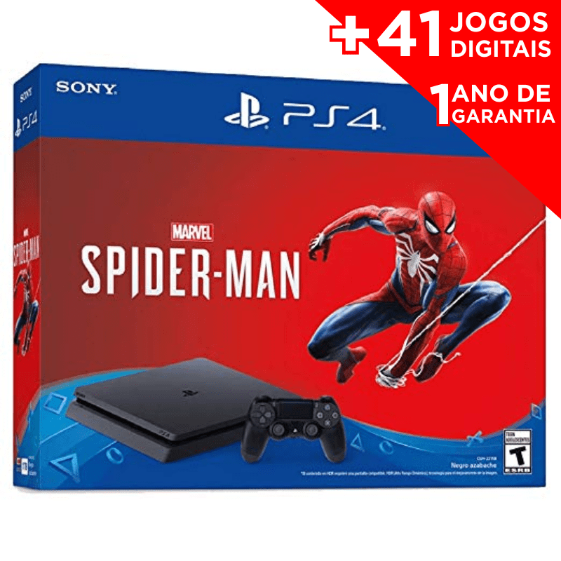 Console Playstation 4 Slim 1TB Spiderman + 41 JOGOS DIGITAIS