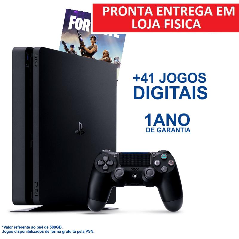 Console Playstation 4 Slim 500GB + 41 JOGOS DIGITAIS (PRONTA ENTREGA)
