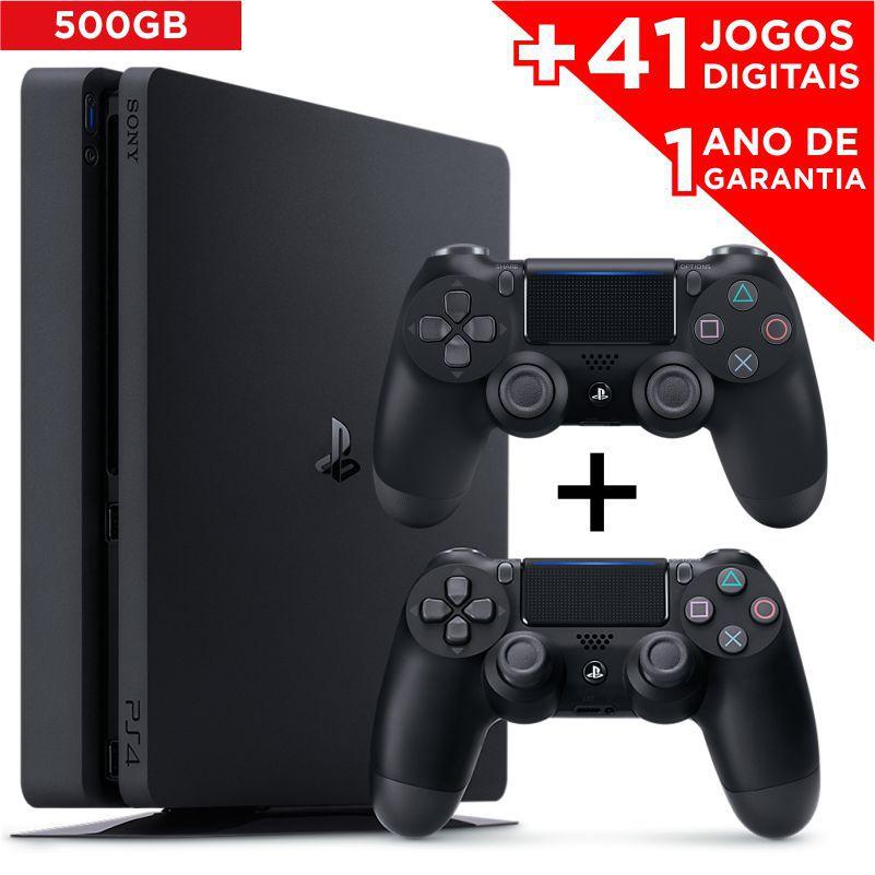Console Playstation 4 Slim 500GB com 2 controles + 41 JOGOS DIGITAIS