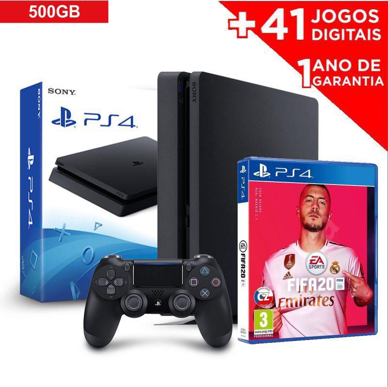 Console Playstation 4 Slim 500GB + Jogo FIFA 2020 mídia física e baixe 41 JOGOS DIGITAIS (PROMOÇÃO)