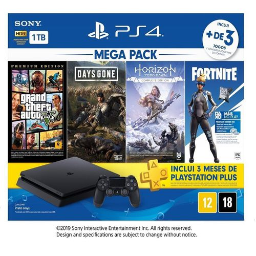 Console Sony Playstation 4 1TB mega pack bundle  com 4 Jogos ( Horizon Zero Dawn Complete Edition, Days Gone, Grand Theft Auto V)