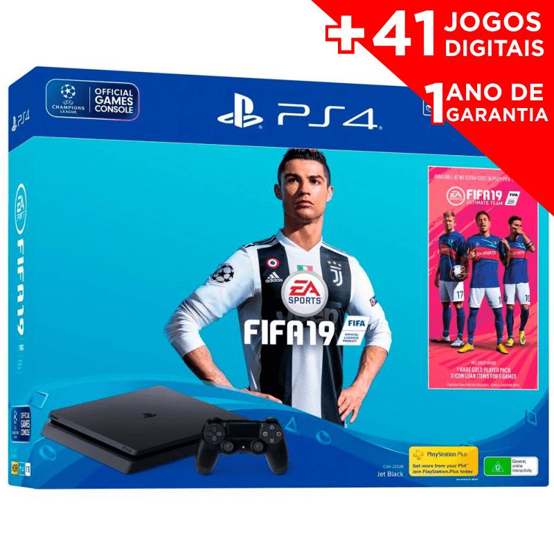 CONSOLE SONY PLAYSTATION 4 SLIM 1TB  COM FIFA 19 + 41 JOGOS DIGITAIS