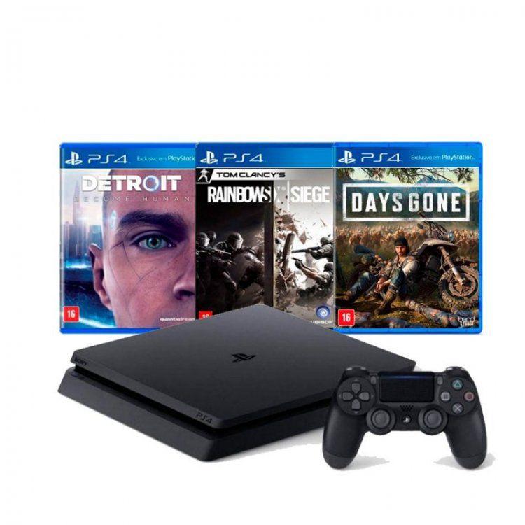 Console Sony PlayStation 4 Slim 500GB com 3 Jogos (Days Gone, Detroit,  Raimbow sIx Siege)