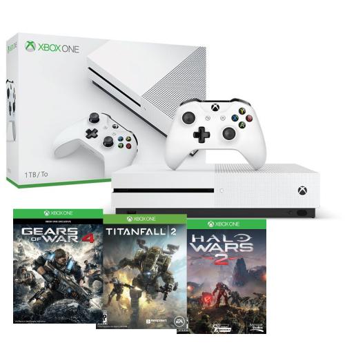 Console Xbox One S 1TB Branco + 3 Jogos ( Halo Wars 2, TitanFall 2 e Gears of War 4)