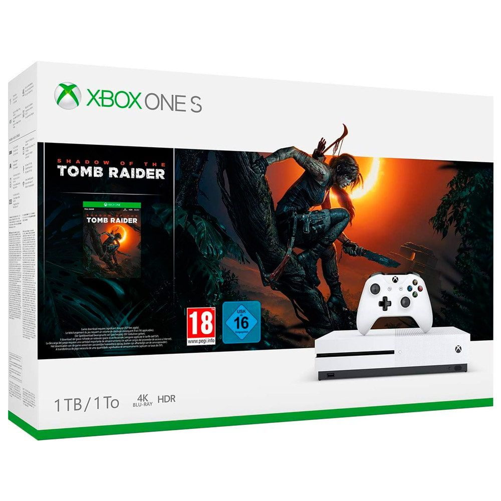 CONSOLE XBOX ONE S 1TB COM SHADOW OF THE TOMB RAIDER - BRANCO