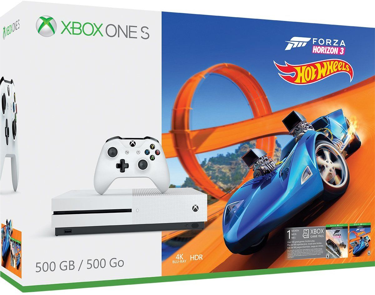 CONSOLE XBOX ONE S 500GB BUNDLE FORZA HORIZON 3 + HOT WHEELS