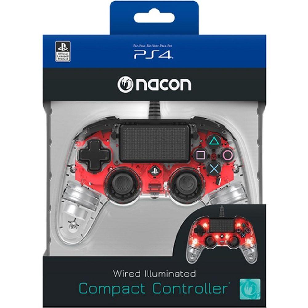CONTROLE COMPACTO PRO NACON ILUMINADO VERMELHO PARA PLAYSTATION 4
