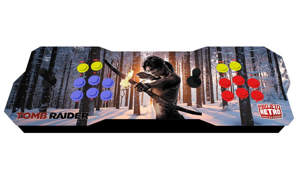 Fliperama Duplo Portátil 64GB Estampa Tomb Raider