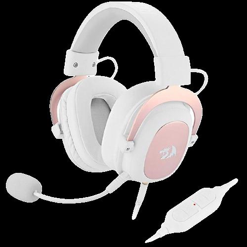 Fone De Ouvido Headset Gamer Redragon Zeus 2 H510W - Branco/Ouro Rosa