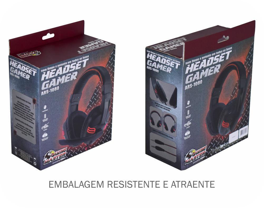 HEADSET GAMER STEREO C/MICROFONE PRETO ARS-1080 K-MEX
