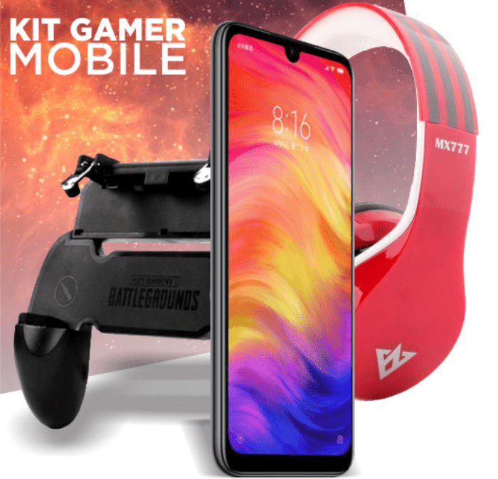 KIT GAMER CELULAR XIAOMI REDMI NOTE 7 64GB + Fone sem fio + Game pad