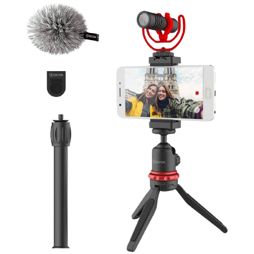 Kit Microfone Boya BY-VG330 Tripé + Suporte para Celular