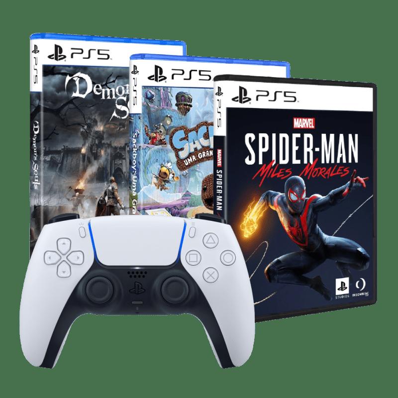 Kit Prime PlayStation 5 - Controle Controle DualSense + 3 Jogos (Marvel's Spider Man Miles Morales, Sackboy: Uma Grande Aventura, Demon's Souls)