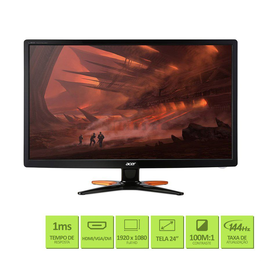 "MONITOR DE VIDEO GAMER LED 24"" WIDE HDMI PRETO 144HZ GN246HL ACER"