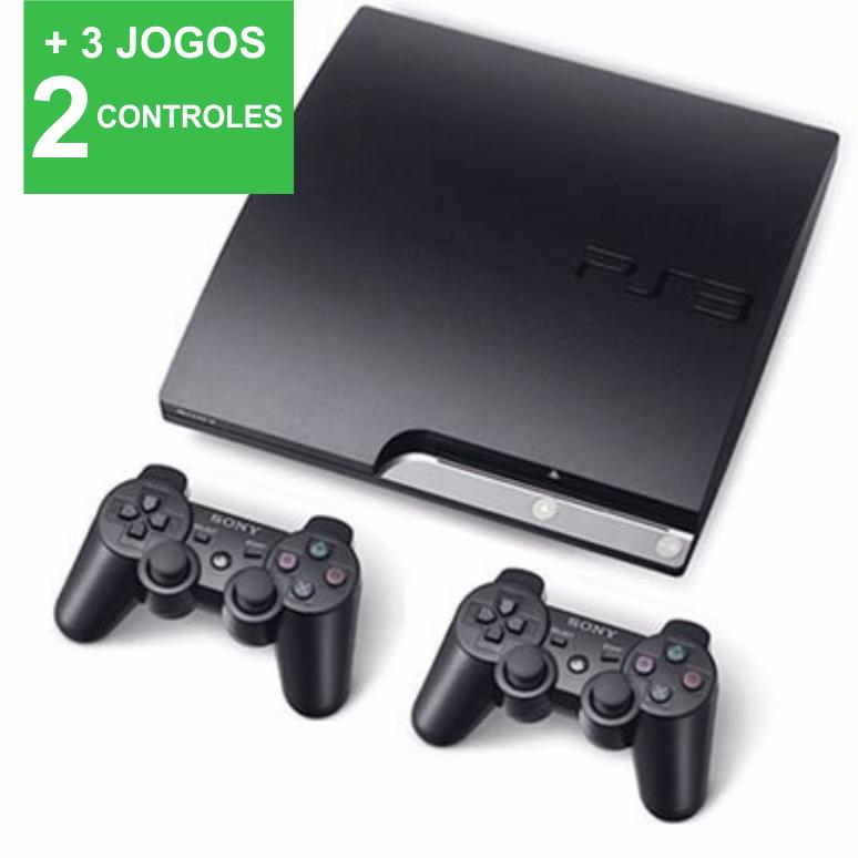 Playstation 3 SLIM SEMINOVO 250gb com2 controles + 3 JOGOS (loja fisica)