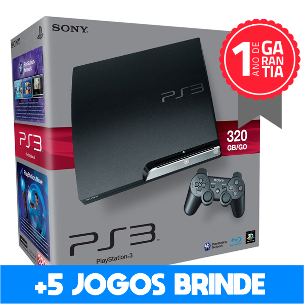 Playstation 3 SLIM SEMINOVO 320 GB + 5 Jogos Brinde (Loja física)