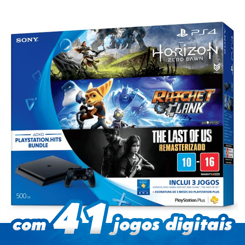 Playstation 4 Slim – 500GB BUNDLE + 3 Jogos: HORIZON ZERO DAWN  RATCHET  CLANK THE LAST OF US