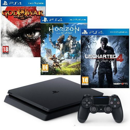 PLAYSTATION 4 SLIM 500GB BUNDLE + 3 JOGOS: Uncharted 4: A Thief's End. Horizon Zero Dawn e God of War 3: Remastered