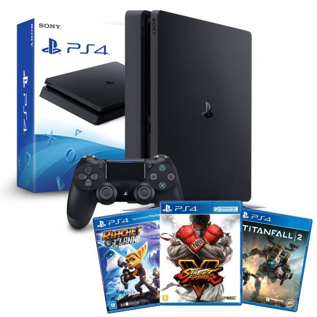 Playstation 4 Slim – 500GB Kit com 3 Jogos - Titanfall 2, Street Fighter V e Ratchet & Clank