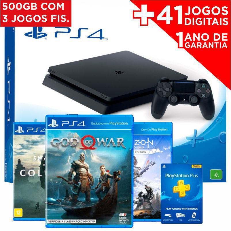 Playstation 4 Slim 500GB Sony 1 Controle - com 3 Jogos (God of War, Horizon Zero Dawn Complete Edition e Shadow of the Colossus) + 41 JOGOS DIGITAIS