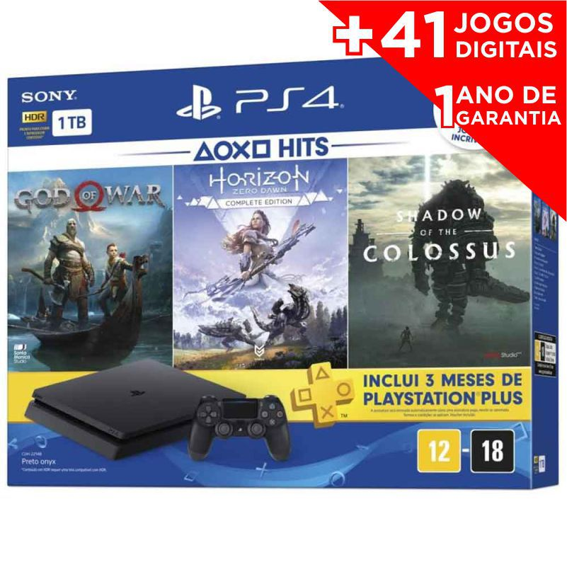 Playstation 4 Slim Hits Bundle 1TB Sony 1 Controle - com 3 Jogos (God of War, Horizon Zero Dawn Complete Edition e Shadow of the Colossus) + 41 JOGOS DIGITAIS