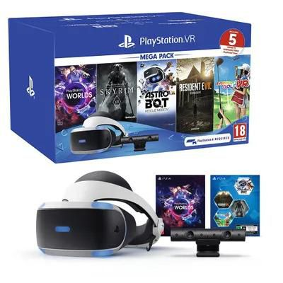 PlayStation VR bundle com 5 jogos Worlds / Skyrim / Astro bot / Resident evil 7 / Everybody's golf - preto