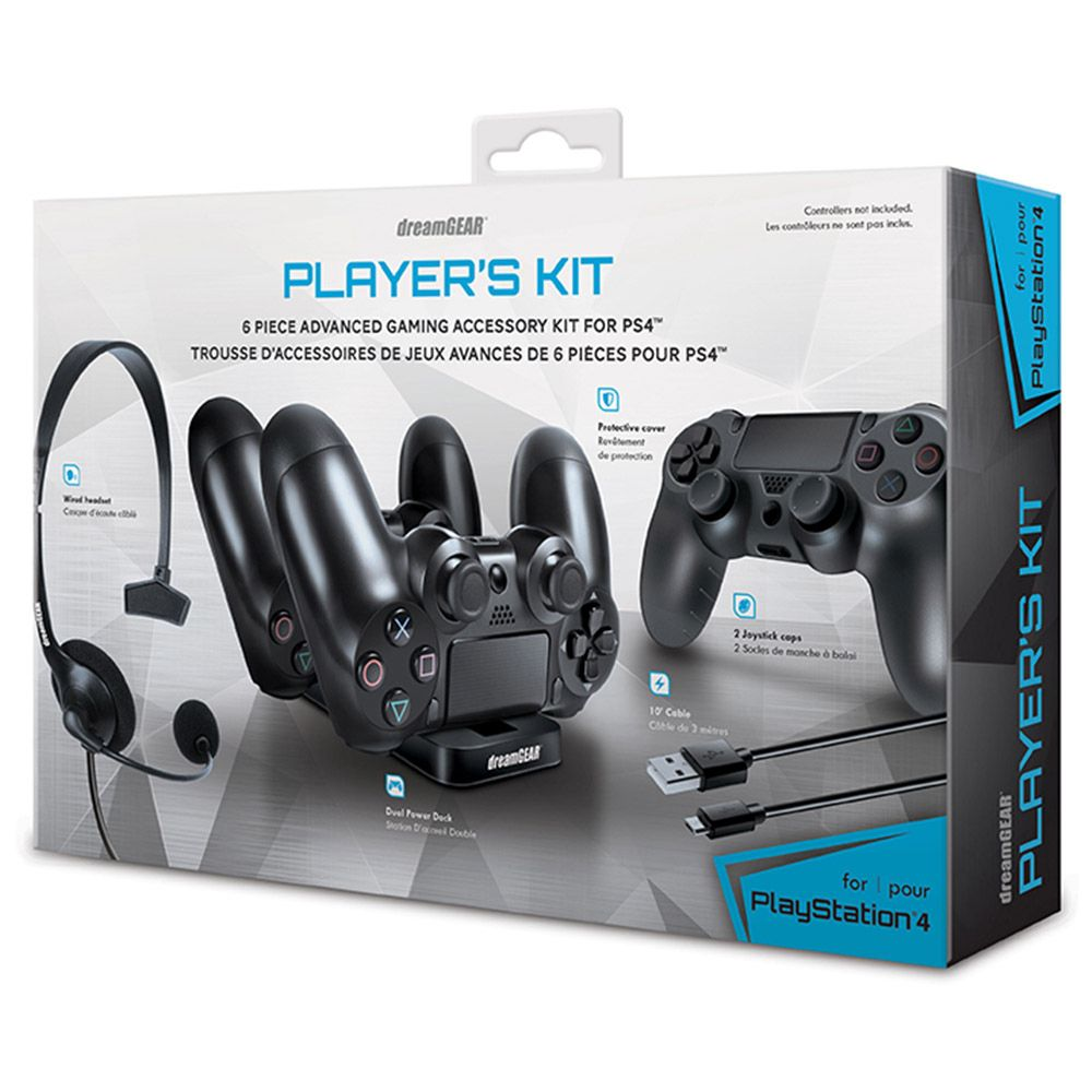 PS4AC PLAYERS KIT DREAMGEAR PLAYSTATION 4 - cabo de carga, um headset, protetor para seu Dualshock 4, e charger duplo