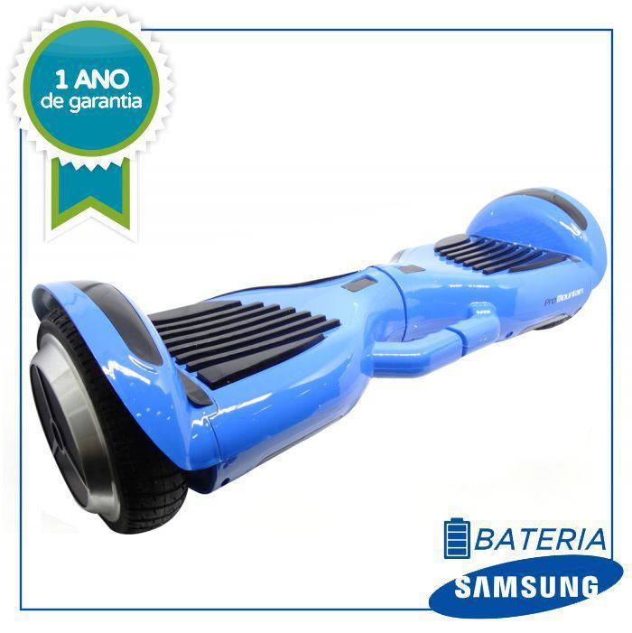 "SCOOTER ELETRICO SMART BALANCE PRO MOUNTAIN 6.5"" NEW PLUS COM ALÇA, LED E BLUETOOTH - AZUL HOVERBOARD"