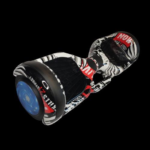 Skate Elétrico Hoverboard 6.5' Grafite Branco Preto Bluetooth e LED - Bateria Samsung - Smart Balance
