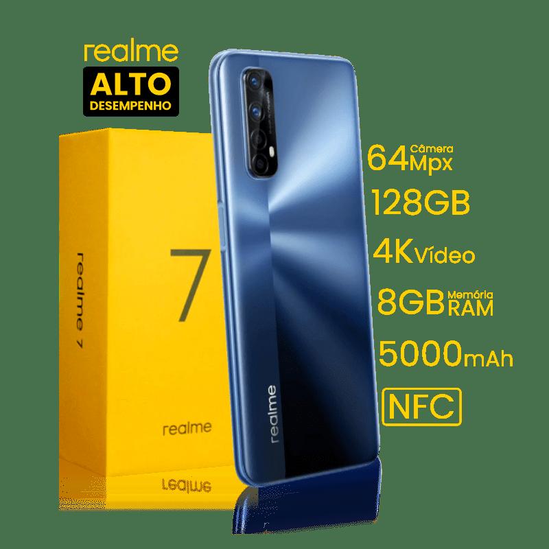 Smartphone realme 7 Azul Niebla Dual Chip Tela 6,5 Octa-core 8GB / 128GB 4G Chip Helio G95 Câmera Quádrupla 64MP + 8MP + 2MP + 2MP