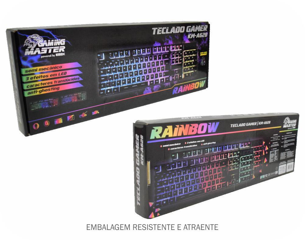TECLADO GAMER RAINBOW SEMI MECANICO USB KM-A628 K-MEX