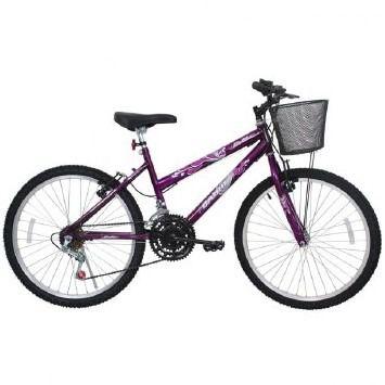 Bicicleta Cairu Aro 24 Bella Roxo 21 Velocidades